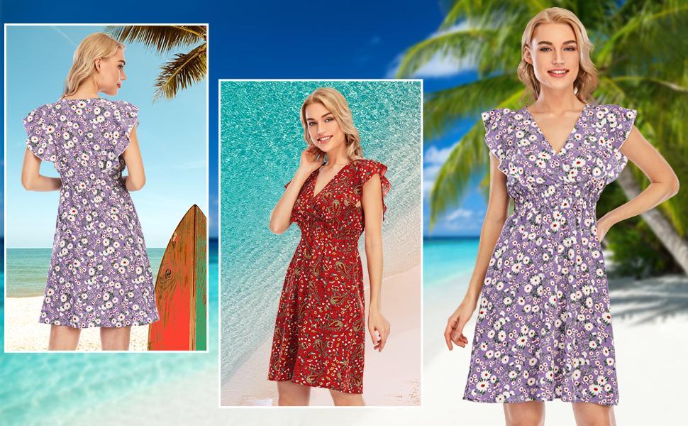 summer chiffon floral dress for women
