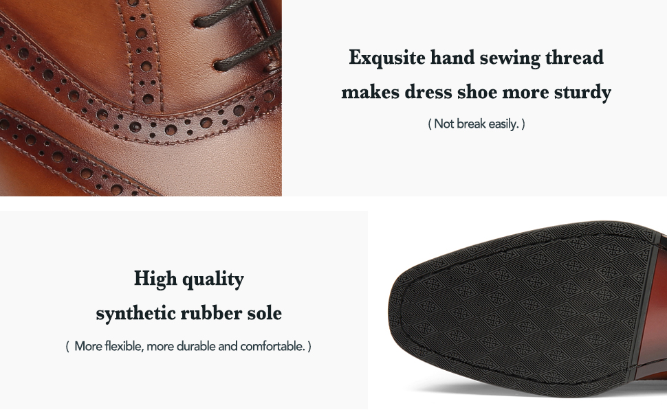 Hand sewing thread makes dress shoe more sturdy