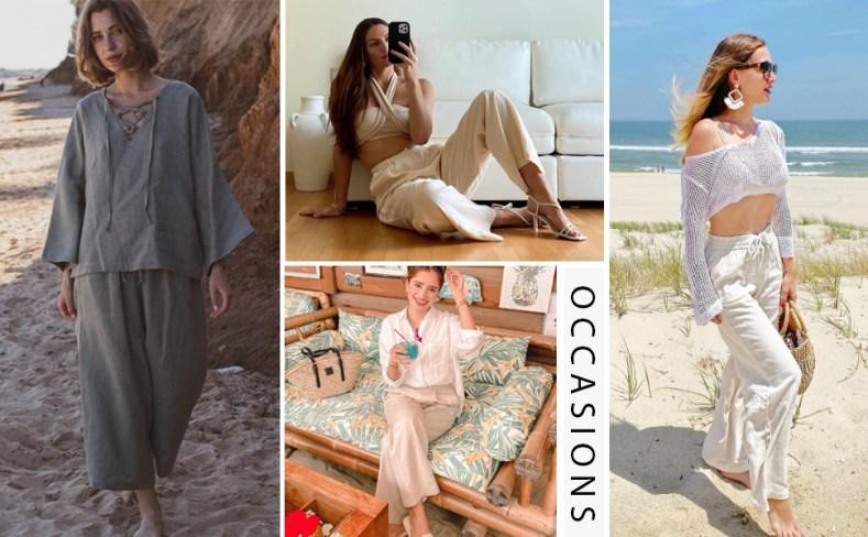 cotton linen pants women