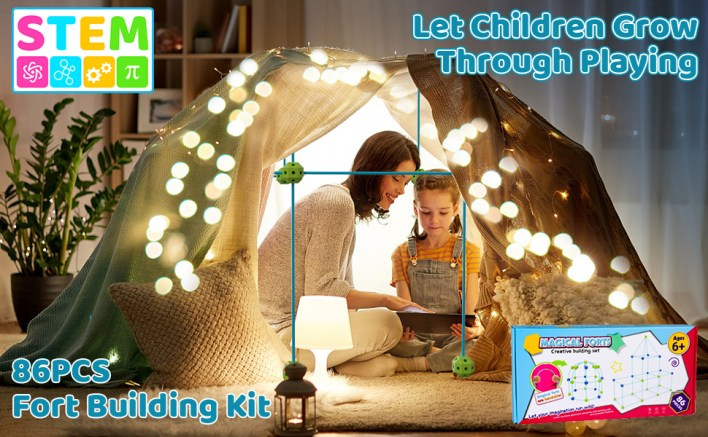Fort Building Kit for Kids, STEM Kids Toys for 5 6 8 10 12 Year Olds Boys Girls, DIY Building