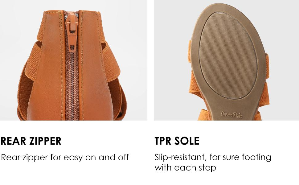 Rear zipper and slip-resistant TPR sole