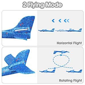 This blue foam glider has two flying mode, the horizontal flight and rotating flight