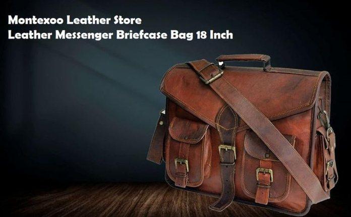 leather messenger briefcase satchel large 18 inch bag