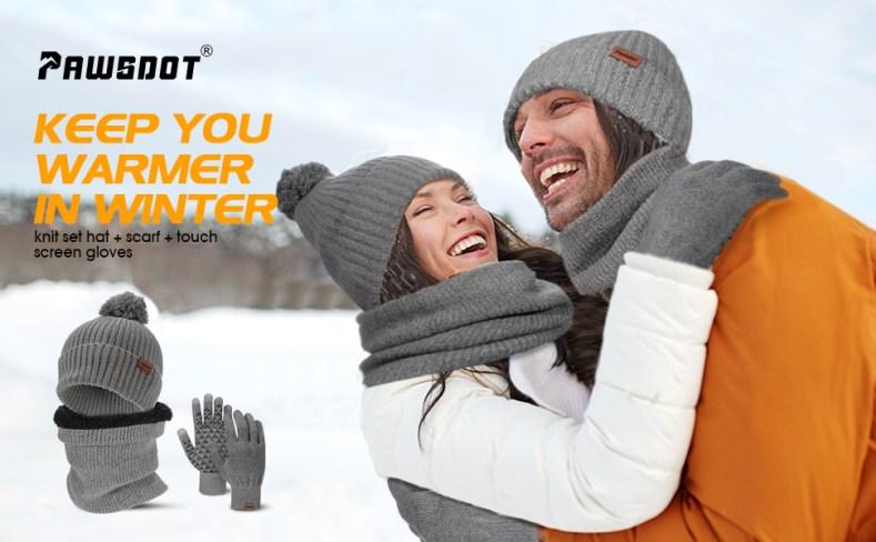 winter warm beanie hat golve scarf womens