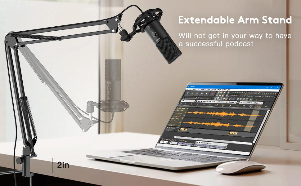 FIFINE usb microphone with arm
