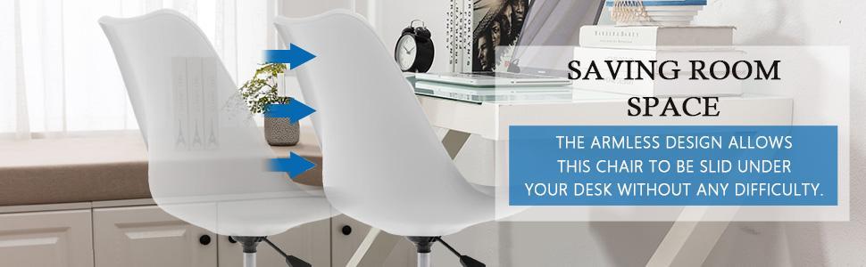 Armless Desk Chair Home Office Chair saving space