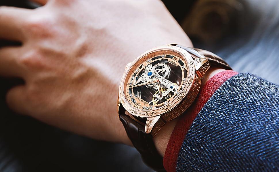 men leather watch