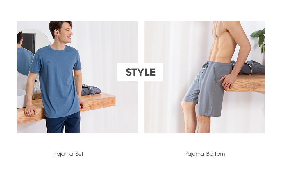 Herren Baumwolle Schlafanzug Nachtwäsche Langarm Shirt Loungehose