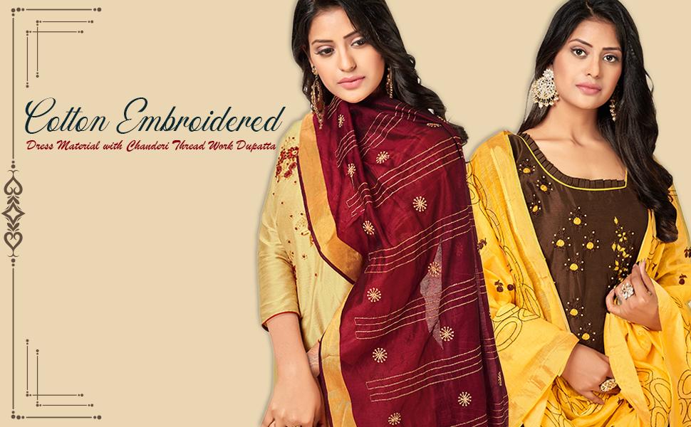 cotton embroidered dress material salwar kameez thread work dupatta