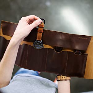 leather watch case roll holder protective