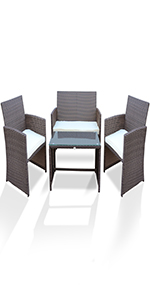 Patio Porch Furniture Sets 3 Pieces PE Rattan Wicker Chairs with Table Outdoor Garden Furniture Set