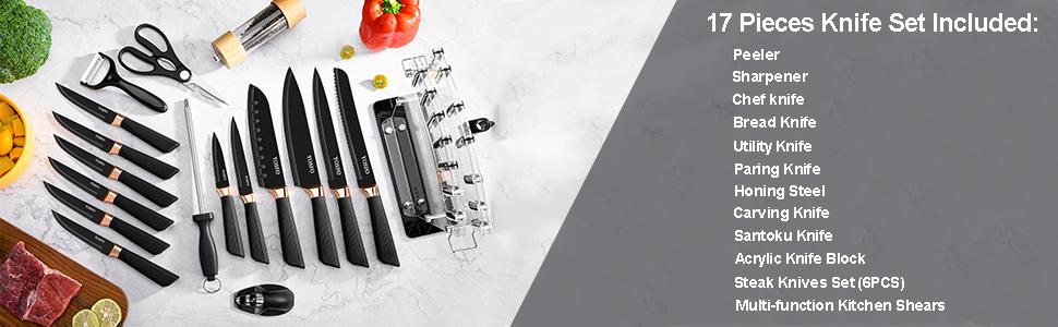 Stainless Steel Knife Block Set