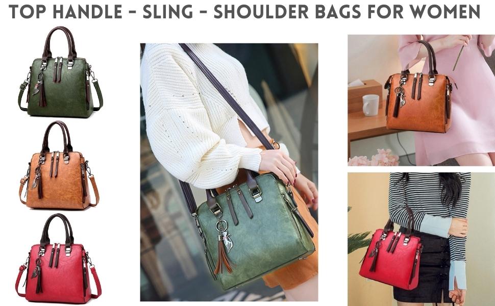 Vismiintrend Stylish Top Handle Handbag Shoulder Bag Sling Bag for Women and Girls