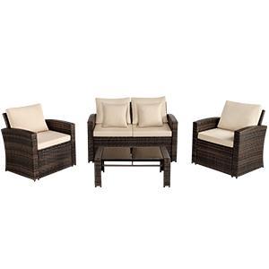 Aoxun 4 Piece Rattan Sofa Seating Group