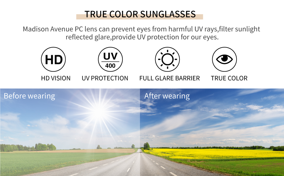 HD vision protect eyes PC lens harmful UV rays filter sunlight glare UV400 protection