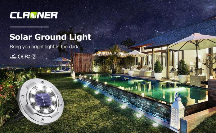 8 LED Solar Powered Disk Lights