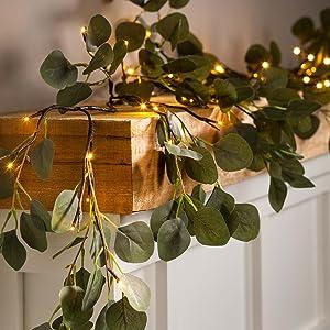 eucalyptus garland with lights