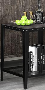 Black square side end table nightstand for living room bedroom with 2-tier shelf