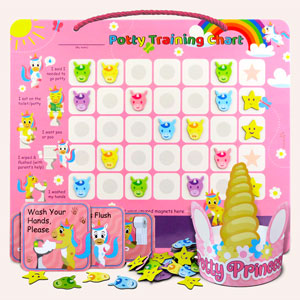 Putska potty training chart, unicorn theme. Includes: chart, crown, magnets and reminder stickers
