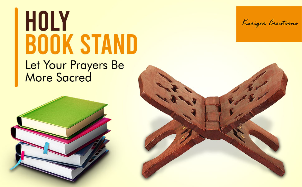 Wooden Hand Carved Holy Book Stand for Ramayan, Quran, Bible, Gita for Reading  SPN-FOR1
