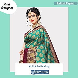 ANNI DESIGNER Women's Banarasi Silk Printed Saree