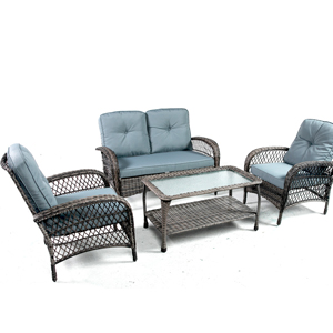 PE Rattan Wicker Sectional Furniture Conversation Set with Cushions and Table for Porch Lawn Garden