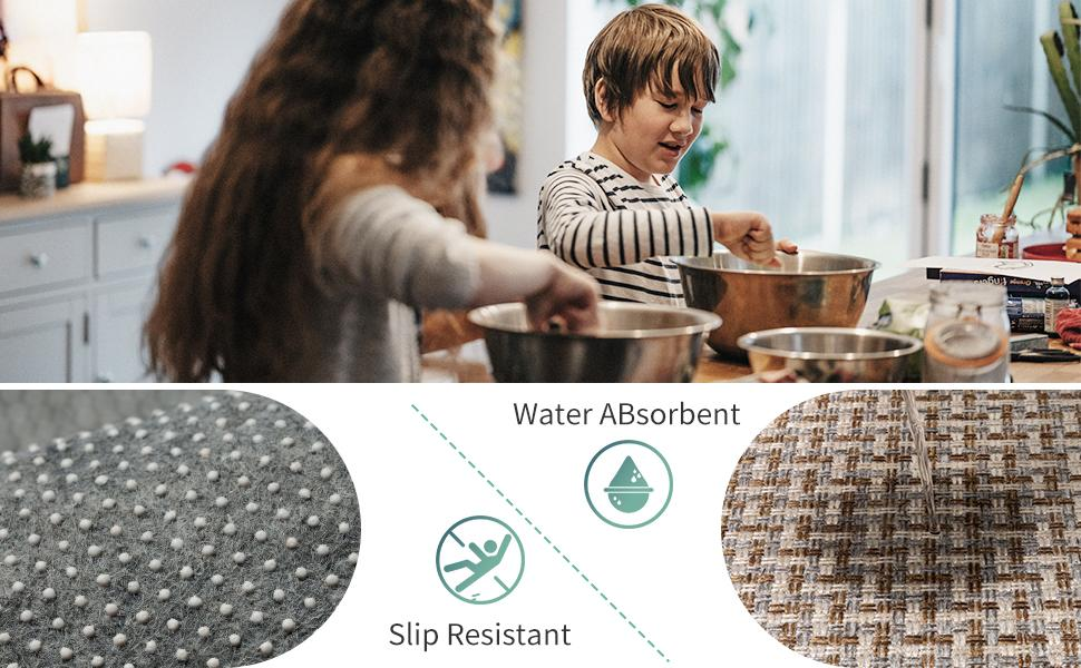 Kitchen Rugs and Mats Non Skid Washable, Absorbent Rug for Kitchen