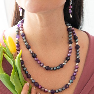 sterling silver amethyst purple pearl necklace