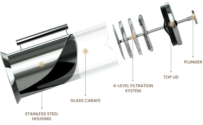 Components of coffee french press maker