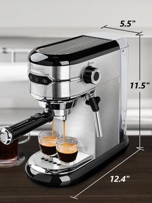 Yabano De'Longhi espresso machine coffee machine with milk frother stainless steel espresso maker