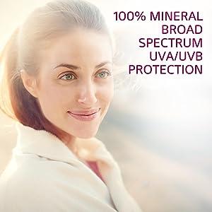 100% mineral broad spectrum UVA/UVB protection