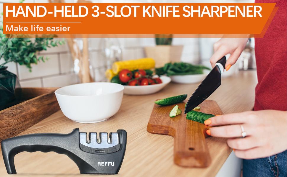 hand held 3 slot knife sharpener make life easier