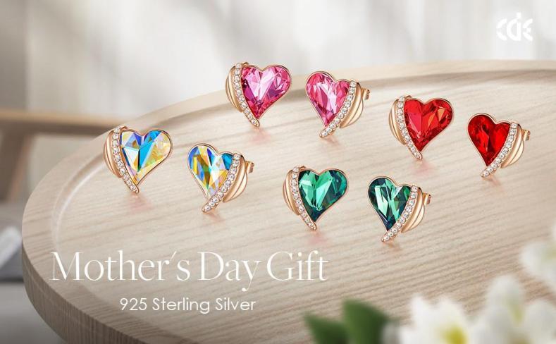 Stud earrings for girls women girlfriend wife rose gold red pink