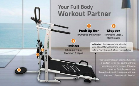 Sparnod Fitness four in one STH600 Manual Running Machine