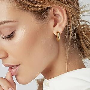 chunky gold hoop earring for women