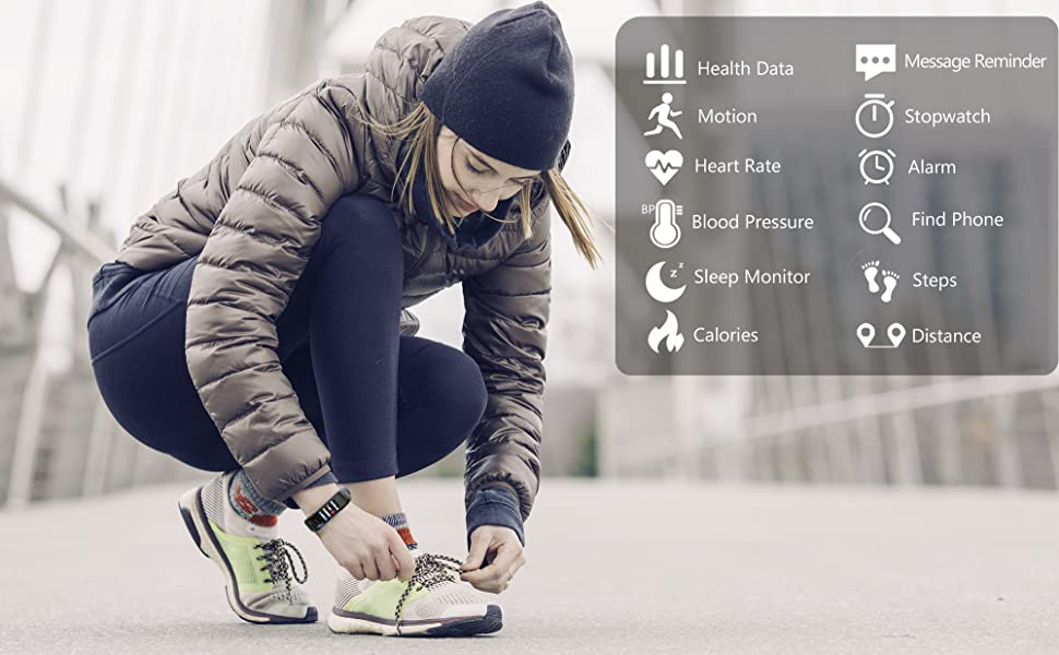 fitness tracker with heart rate blood pressure monitor,message reminder,steps counter, calories