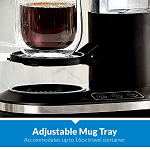 adjustable mug tray that accommodates up to 16oz travel container, powerxl grind and go