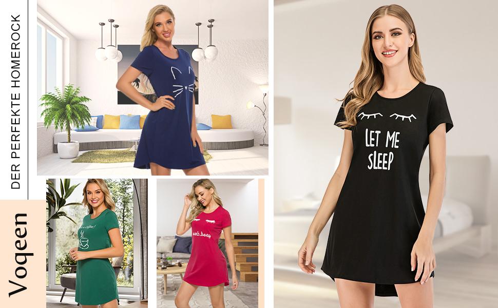nachthemd damen kurzarm nachthemden negligee nachthemd schlafanzug baumwolle sleepshirt nachtwäsche