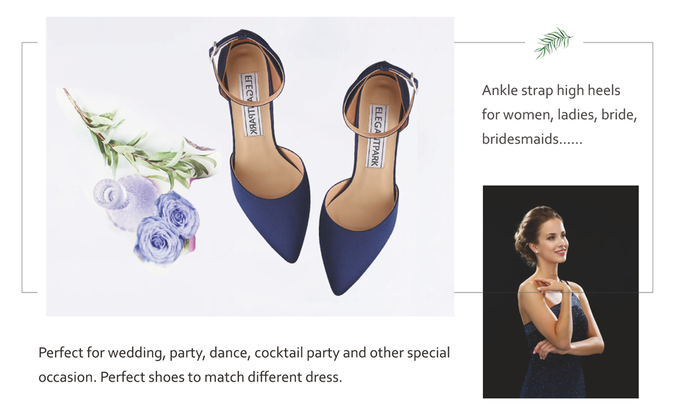 wedding shoes for bride ankle strap high heels for women pointed toe bridal evening dress pumps