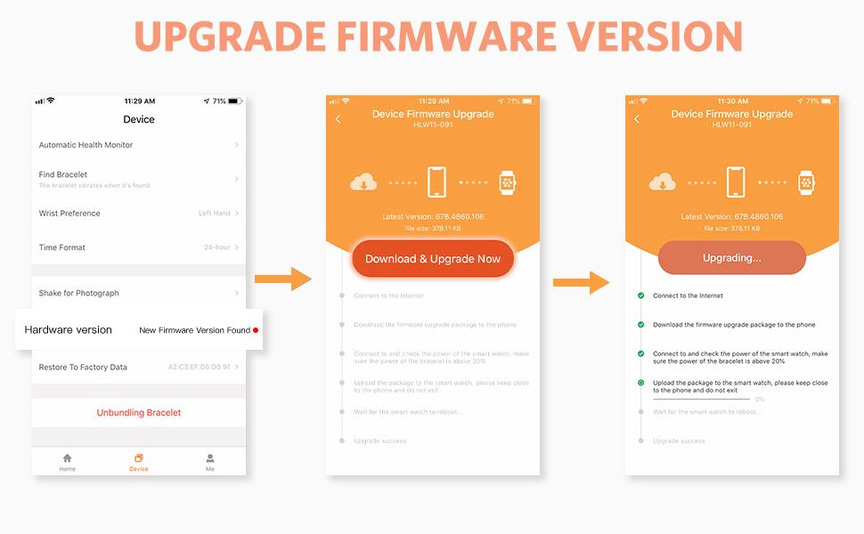 Upgrade firmware version