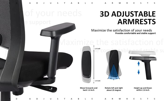 DESK CHAIR with 3D adjustable arms