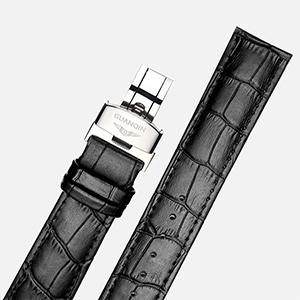 Mens Watch Black Leather Band Automatic Mechanical Stainless Steel Wristwatch Fashion Analog