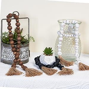 various wood bead garland with tassel for farmhouse decor