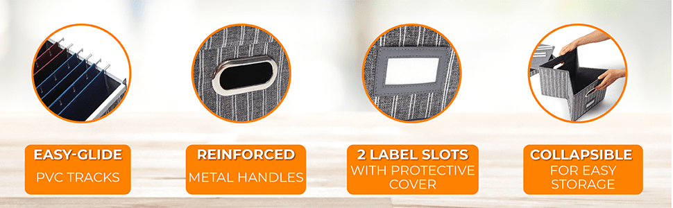 Easy-Glide PVC tracks, Reinforced metal handles, 2 label slots, collapsible