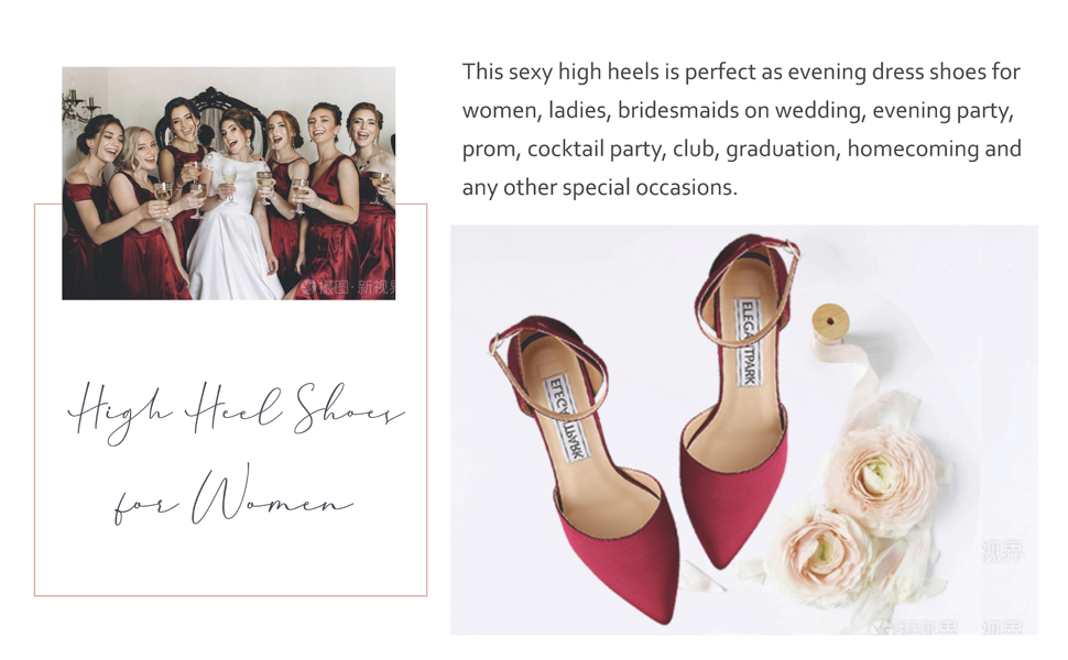 burgundy heels for women wedding shoes for bride ankle strap pointed toe bridal evening dress pumps