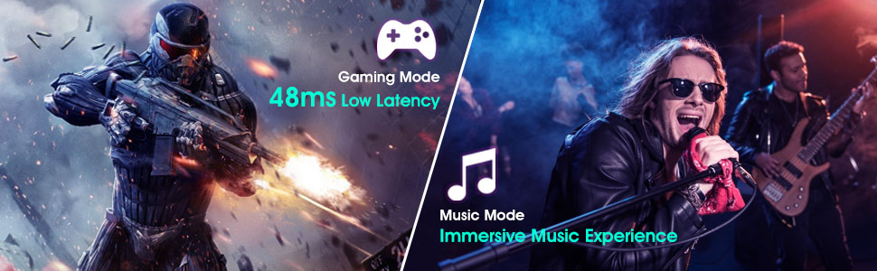Dual mode: music/bluetooth mode and gaming mode with low latency