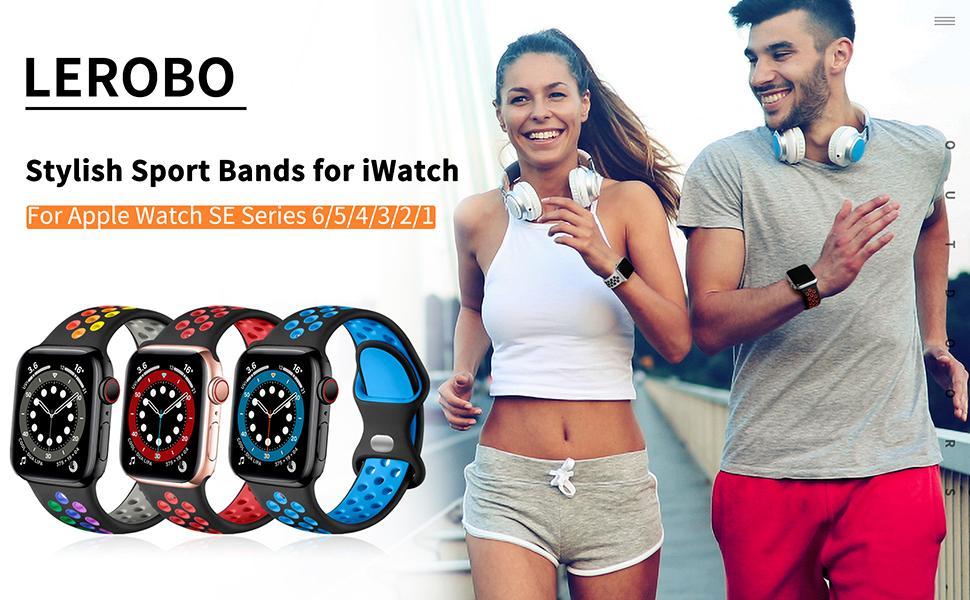 Lerobo Sport Bands for Apple Watch Bands 38mm 40mm 42mm 44mm Series 6 5 4 3 2 1 SE Women Men
