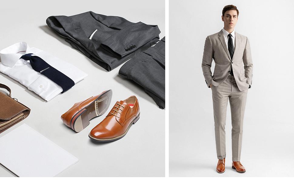 Bruno Marc Men's Leather Lined Dress Oxfords Shoes