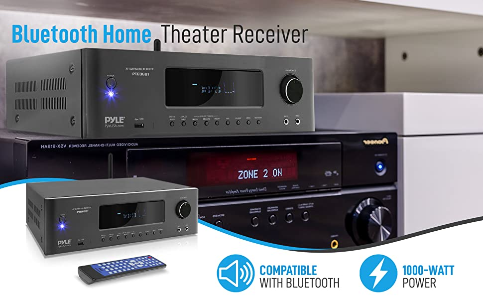 1000W Bluetooth Home Theater Receiver - 5.2 Channel Surround Sound Stereo Amplifier System