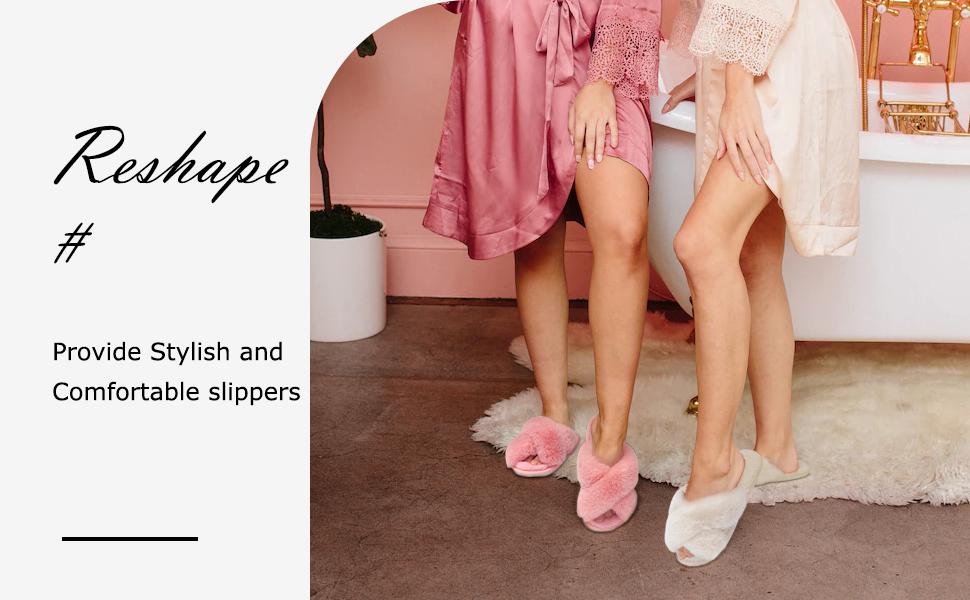 Women's Cross Band Slippers Furry Cozy Open Toe House Shoes Indoor Outdoor slipper